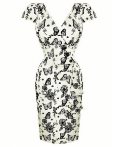 Voodoo Vixen butterfly floral Dita pencil dress