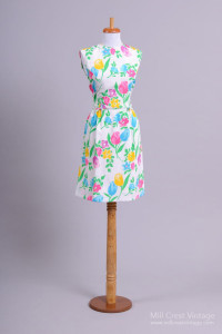 1970 Floral Crepe Vintage Day Dress