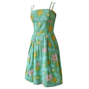 Water Lily print 1950s cotton day dress